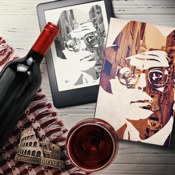 Livro Brava Serena no canto direito da imagem, com um Kindle à esquerda apresentando a capa do mesmo livro. No canto inferior, mais ao centro, está uma taça com vinho tinto visto de cima. Na lateral esquerda, está uma garrafa de vinho sem rótulo em cima de uma toalha xadrez vermelha e branca, e um imã de geladeira metálico representando o coliseu.