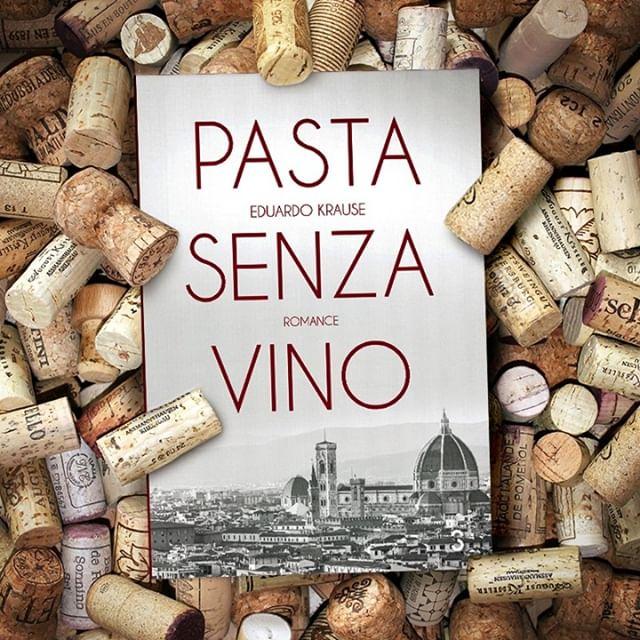 Livro Pasta Senza Vino em meio a diversas rolhas de garrafas de vinho.
