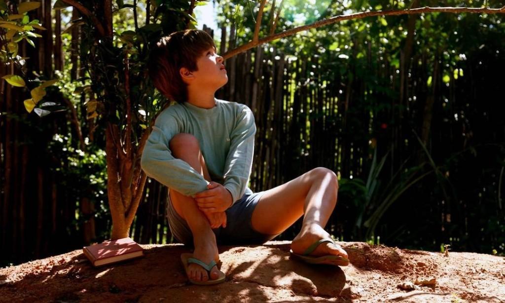 Menino sentado embaixo de um pé de laranja lima, com um livro ao lado, cena do filme Meu Pé de Laranja Lima, de 2012.