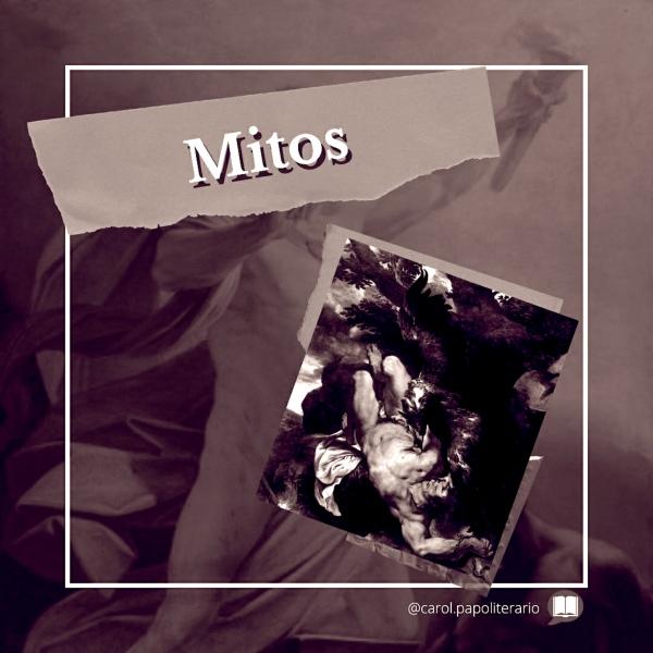 """Título """"Mitos"""" no canto superior esquerdo e pintura representando o tormento de Prometeu, no canto inferior esquerdo, com a águia bicando o fígado do titã acorrentado."""