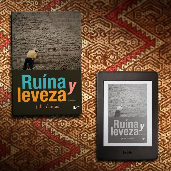 Livro Ruína y Leveza ao lado de um kindle com a capa do mesmo livro, apiados em um fundo com motivos geométricos.