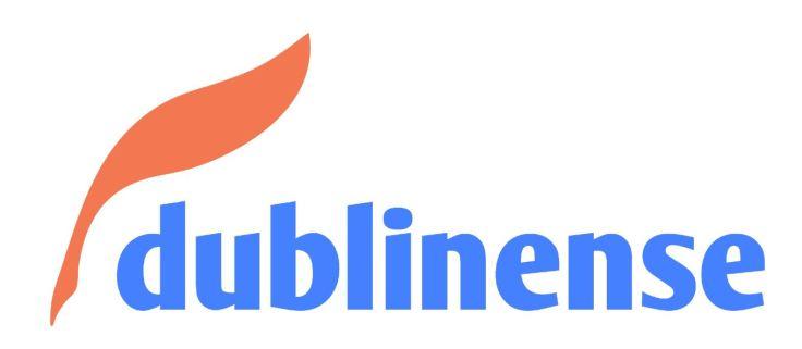 Logo da editora Dublinense, com a pena, símbolo da editora, e o nome escrito por extenso.